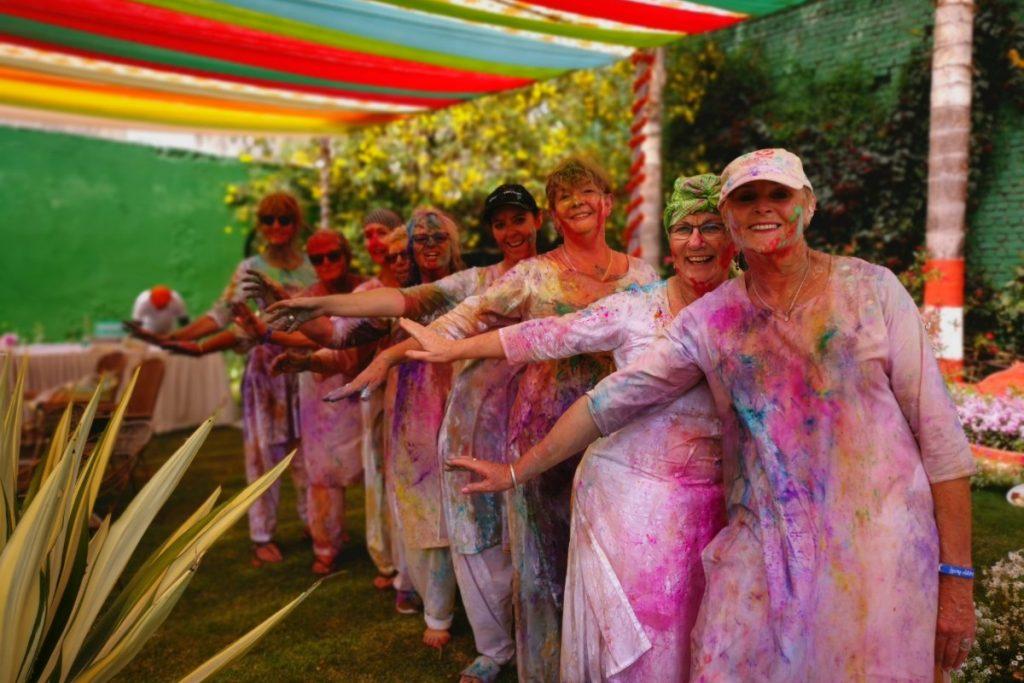 the tour group celebrating holi in agra